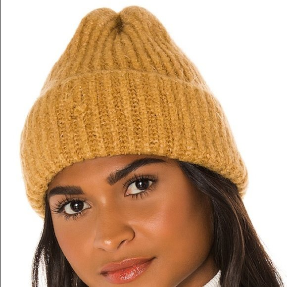 Free People Lullaby Cloud Rib Beanie Camel Knit Fuzzy Comfy Cozy Winter Hat Tan